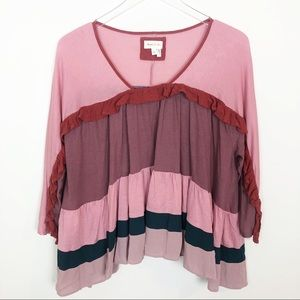 Anthropologie meadow Rue pink ruffle top
